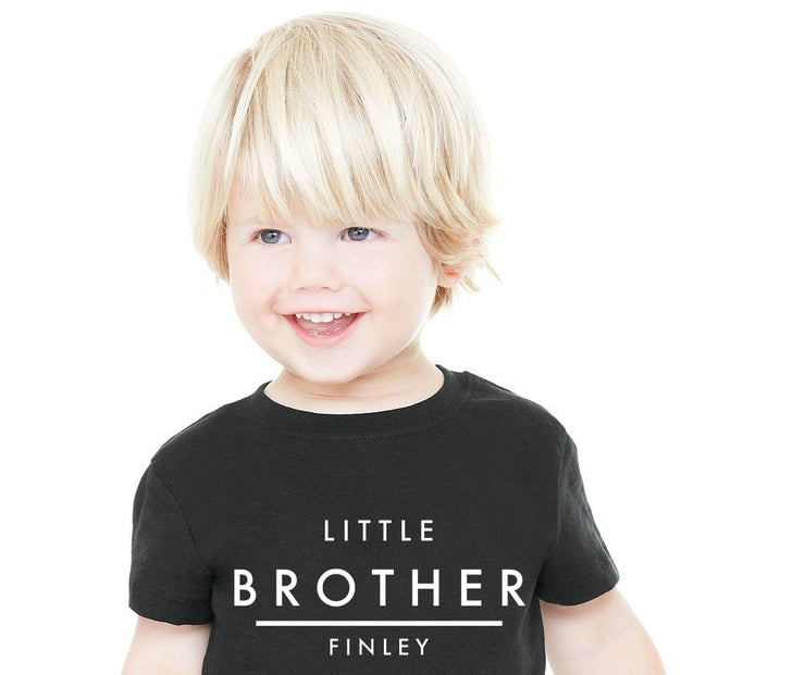 Little Brother Black Short Sleeve Personalised Tee