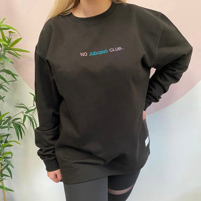 Oversized Black No Judging Club. Sweater