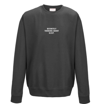 THINKING ABOUT SLEEP Embroidery Men's Jumper | Charcoal