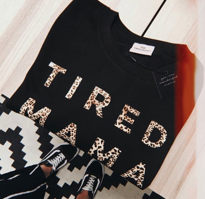 TIRED MAMA Jumper | Leopard Print