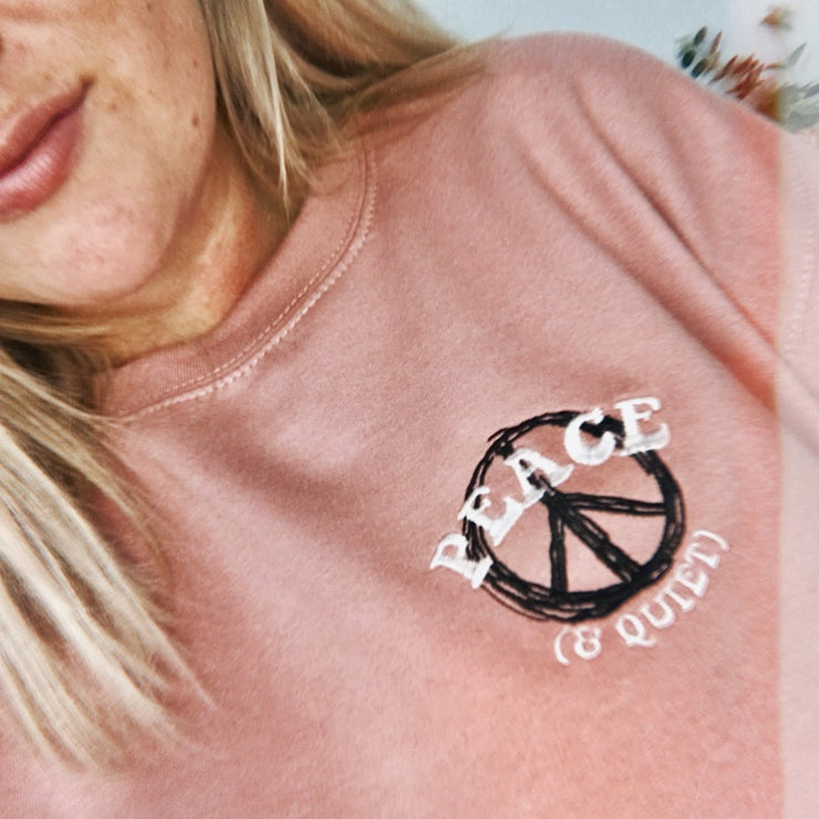 Peace & Quiet Embroidery Jumper  | Dusty Pink