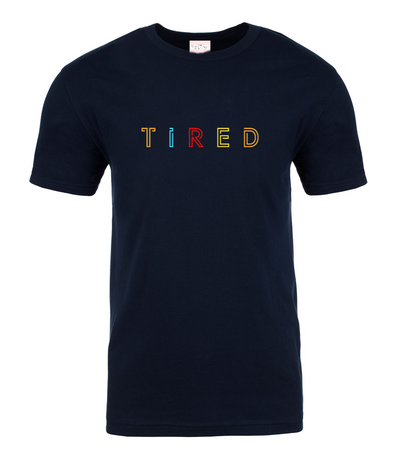 TIRED Embroidery Tee | Navy