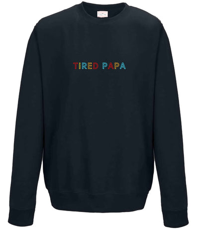 TIRED PAPA Embroidery Jumper | Navy