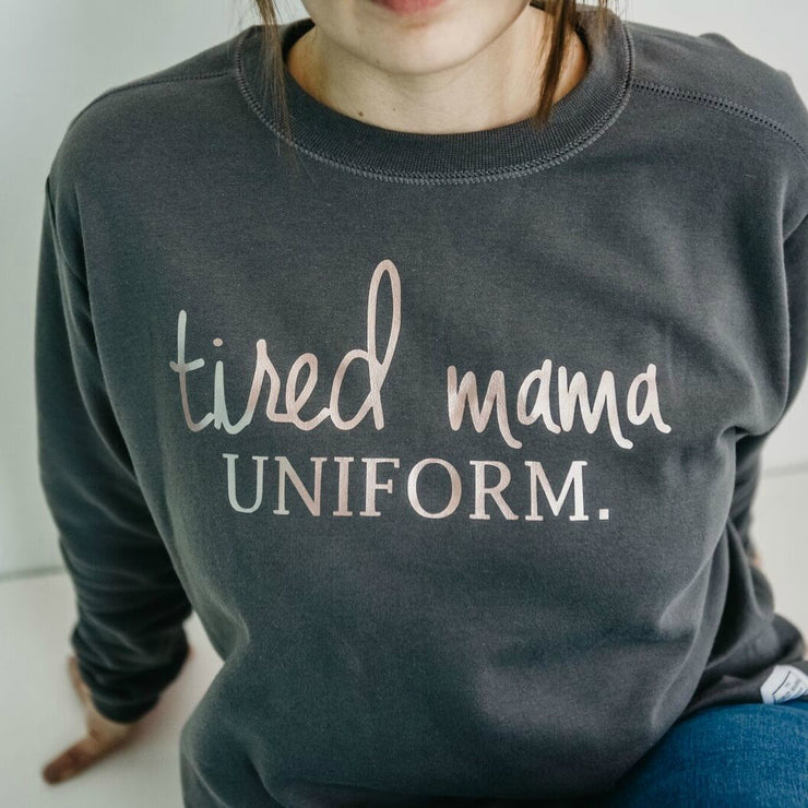 Tired Mama Uniform™ Jumper | Charcoal & Rose Gold
