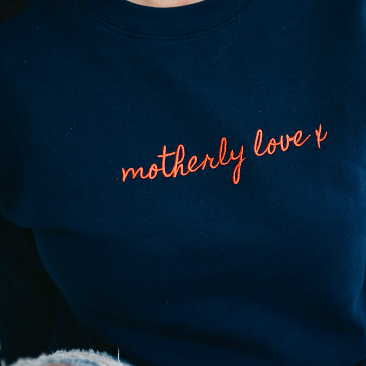 Navy and Red Motherly love x Jumper | Embroidery Design