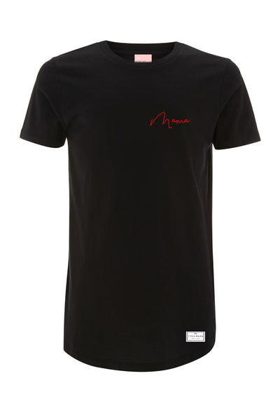 Mama Long Length Embroided Tee | Black