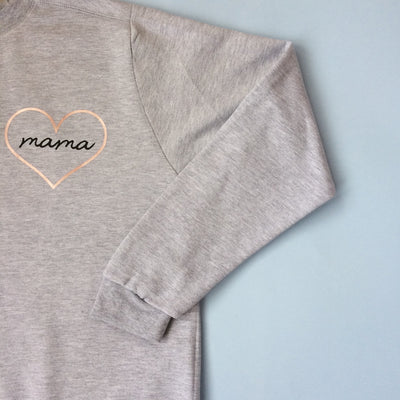 Mama Heart Rose Gold Jumper | Grey