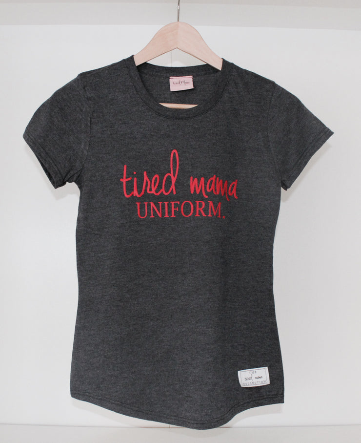 Tired Mama Uniform™ Round Tee | Grey & Red