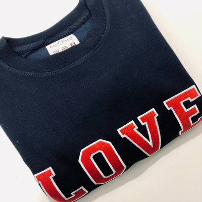 LOVE Varsity Jumper | Navy & Red Embroidery