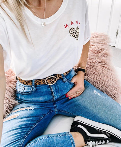 Mama Leopard Heart Oversized Tee | White or Black