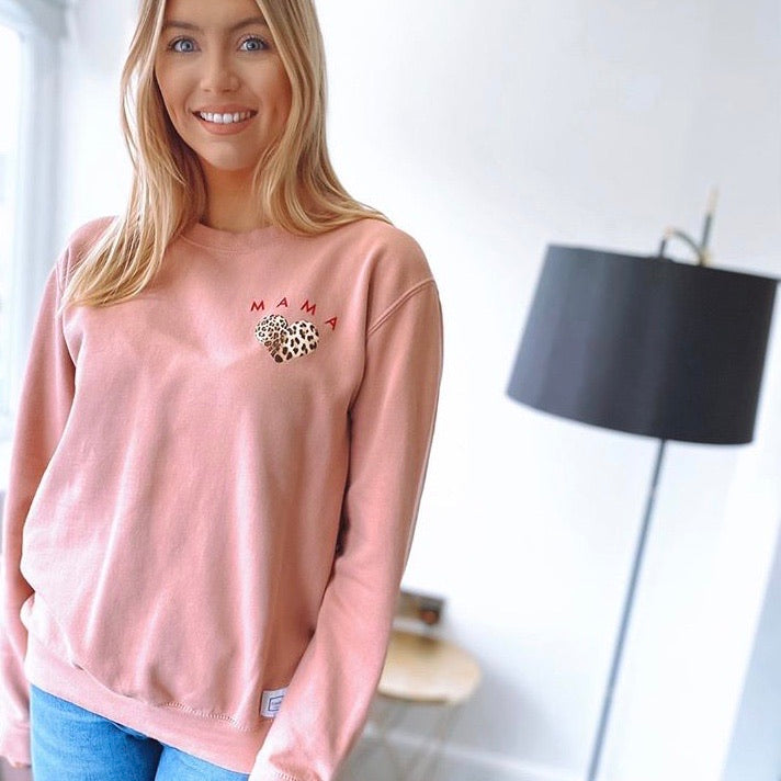 Mama Leopard Heart Jumper | Dusty Pink