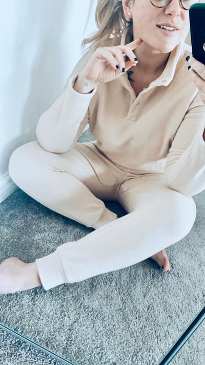 Cropped Fleece Lounge Set