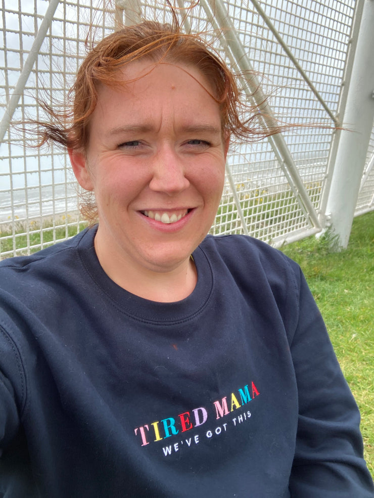 TIRED MAMA 90s Multi Colour Jumper
