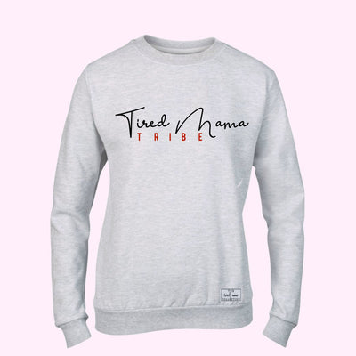 Grey Tired Mama Tribe Jumper | Black and Red