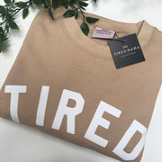 TIRED Jumper | Nude & White