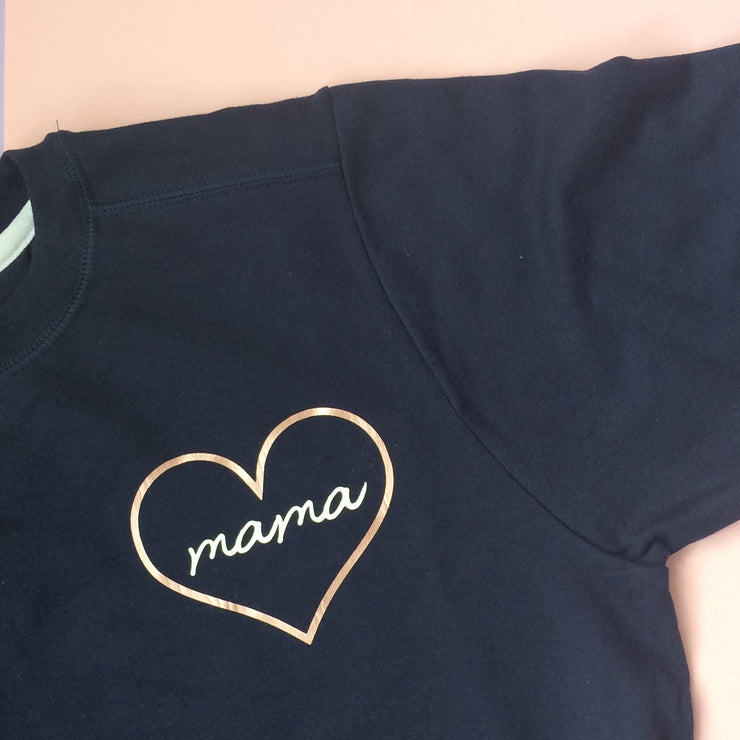 Mama Heart Rose Gold Jumper | Navy