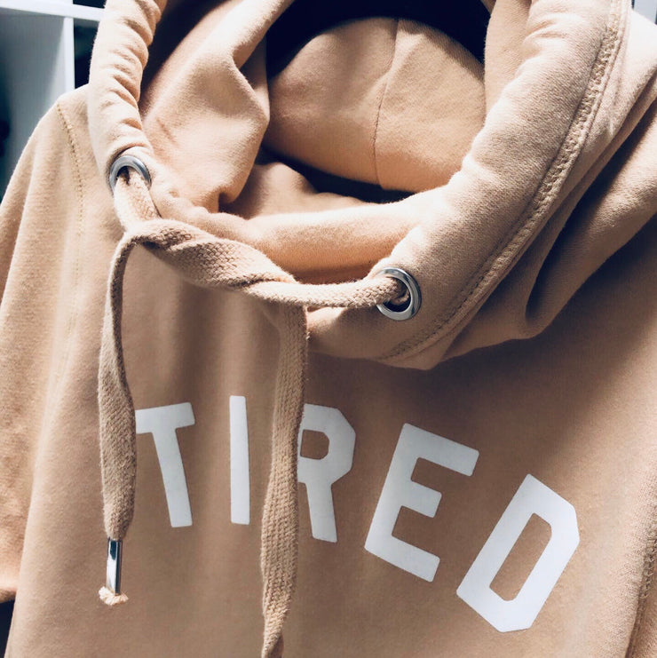 Nude TIRED Cross Neck Hoodie