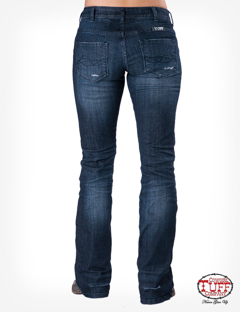 "CLTUFFJHAULH-26 Long-Black Jeans Distressed ""Haulin & Hustlin"""