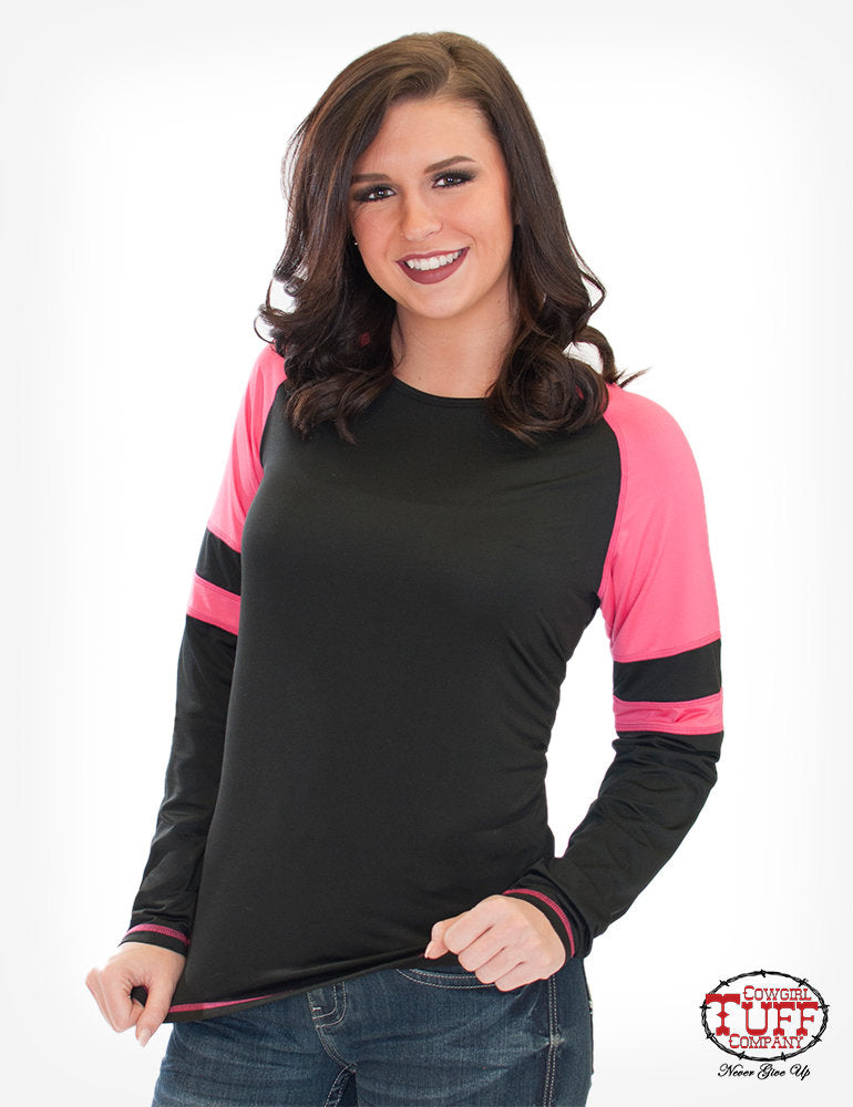 CLH00550-M L/S Hot Pink/Black Football Tee