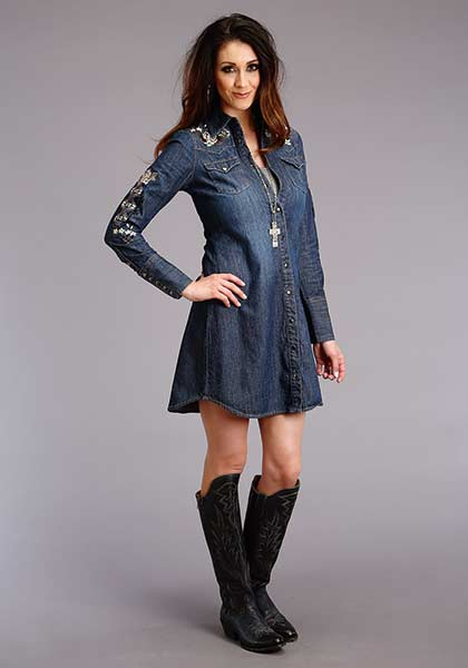 CL11-057-0202-0113BU-M Dress Shirtwright Denim Embroidered