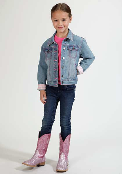 CL03-298-0202-0780-M-Denim Girls Denim Jacket w/Pink Stitch
