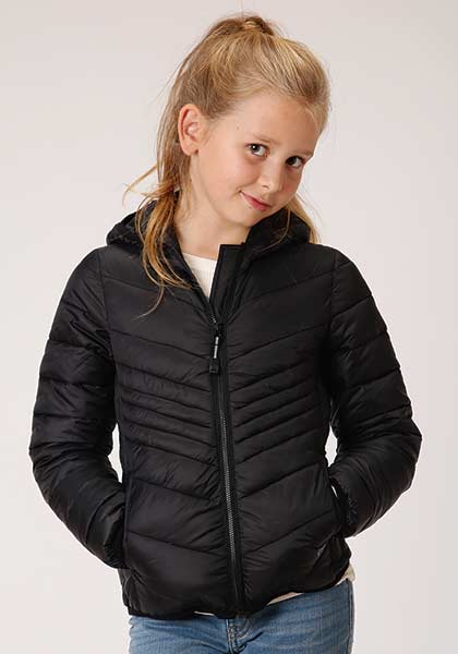 CL03-298-0693-6129-L-Black Girls Roper Parachute PolyFilled Jacket