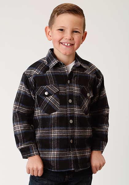 CL03-030-9400-0001-S-Blk/Plad Boys Roper L/S Flannel Shirt w/Sherpa Lining