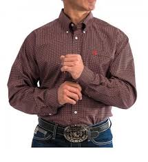 CLMTW1104675-S-Red Cinch Mens Shirt Print L/S