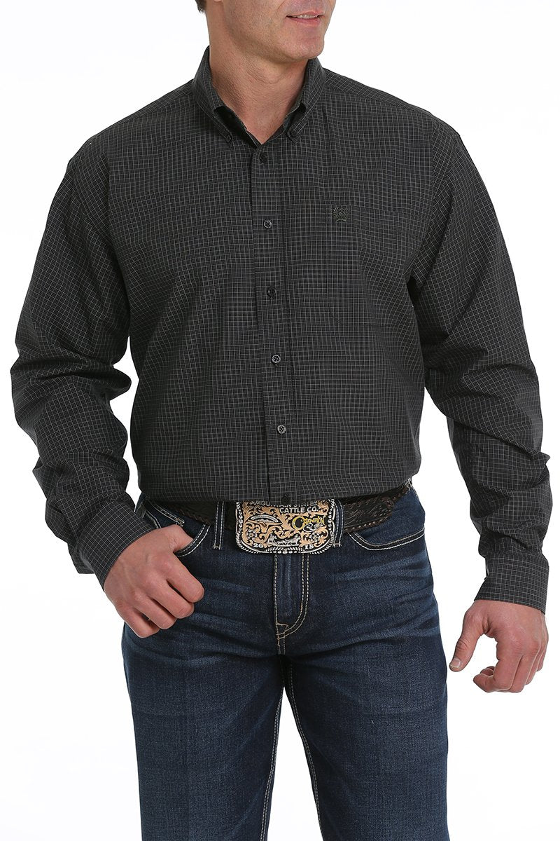CLMTW1104945BLK-S Mens L/S Plaid