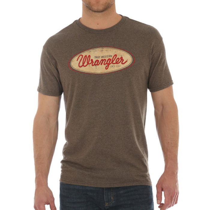 CLMQ1112E-S-Brown T Shirt S/S Vintage Wrangler Oval