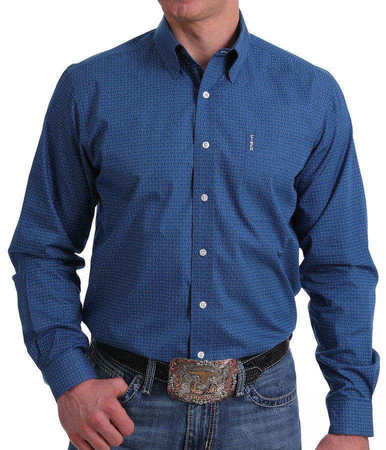 CLMTW1343107 BLU-S Cowboy Shirt 1 pocket button - Blue dot