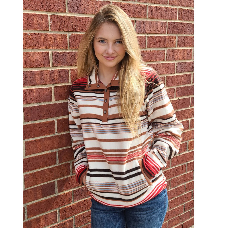 CLMAK9820004-XL-Stripe Cinch Printed Fleece Aztec Snaps