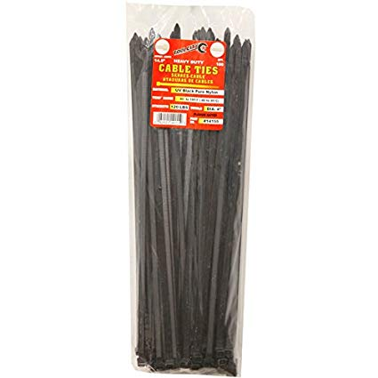 "HG2996 Cable Tie-14.5"" Black 100/pk Heavy Duty"