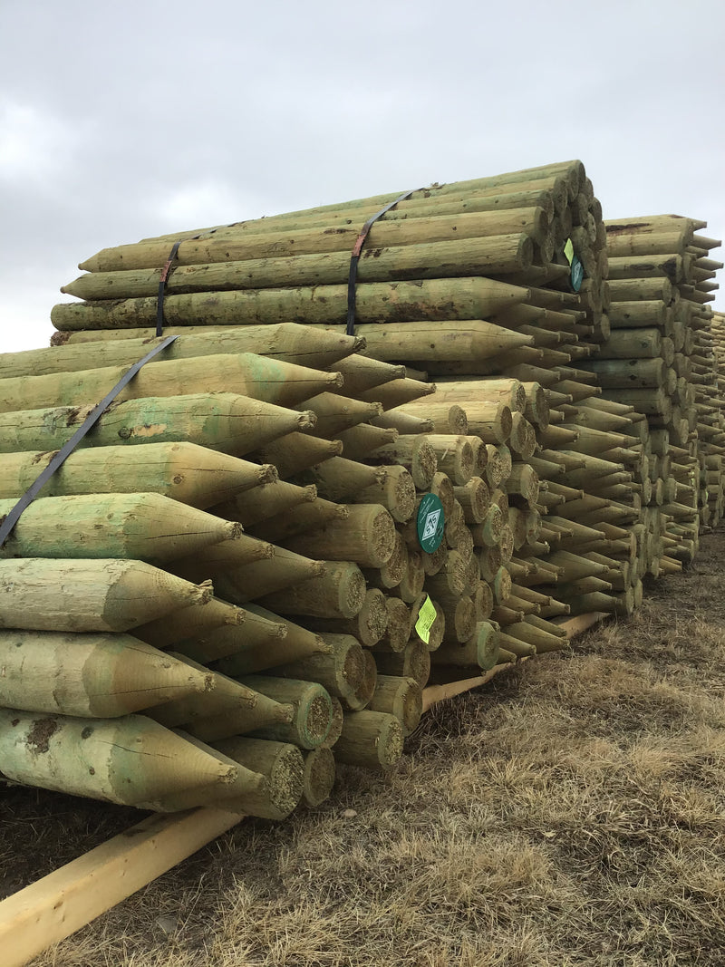 "FE457 Spray Lake Posts 4-5""x 7' Treated 75/bundle"