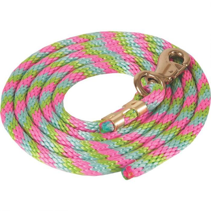 TK25-6001 Lead Rope Poly Cowboy 9' w/Bull Snap Ass'd Colours