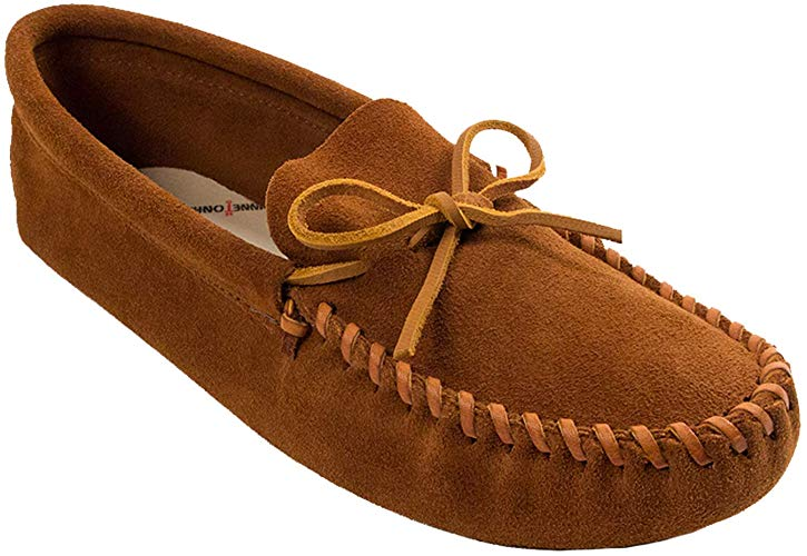 CL749DKTM-9-Dark Tan Moccasins Suede Lined Laced