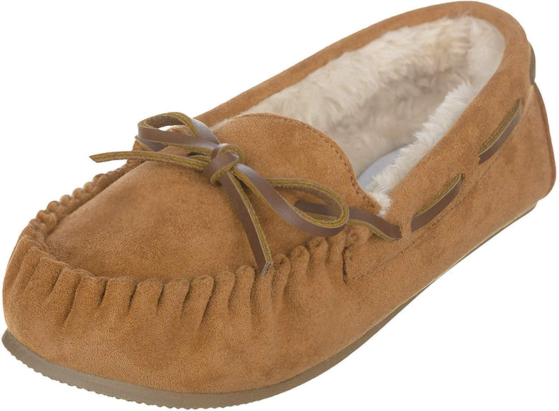 CL7709-8-Dark Tan Slipper Moccasins Suede Lined Ski Sole