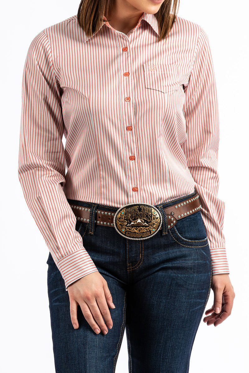 CLMSW9164104-S-Coral Shirt L/S Stripe Button Front