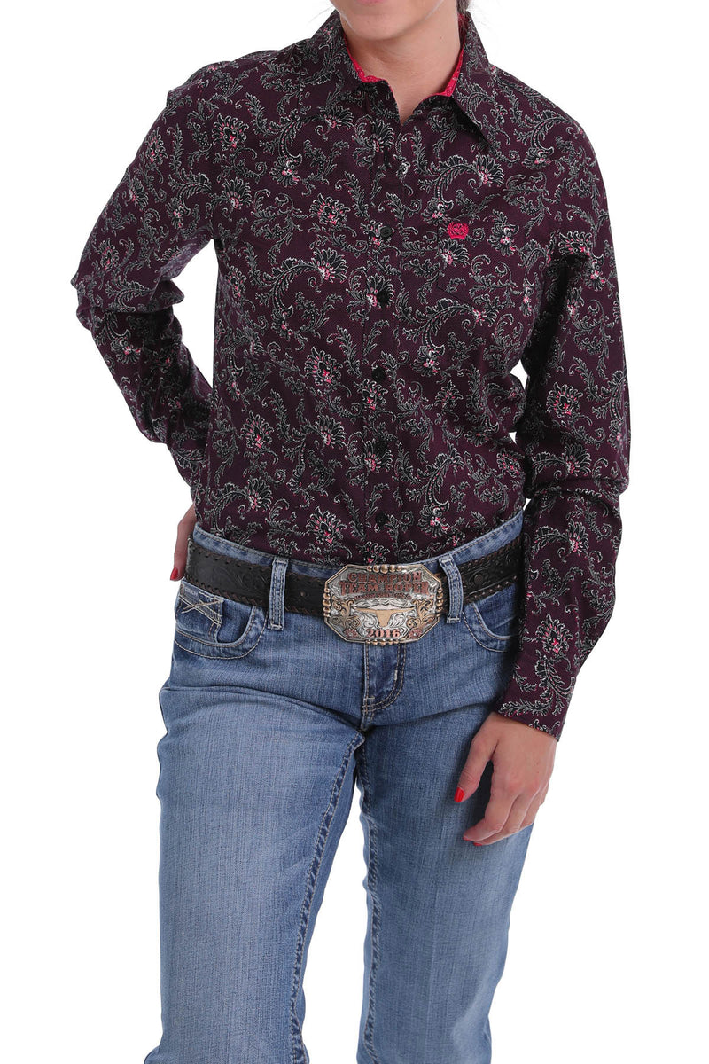 CLMSW9164128 Ladies L/S Print Mulberry