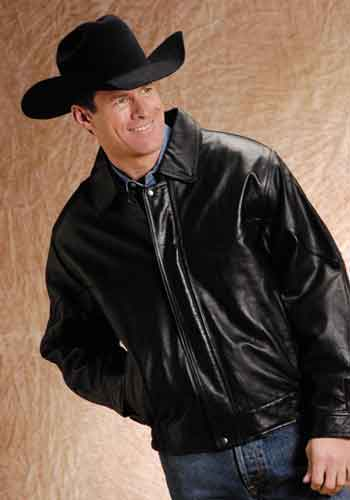"CL03-097-0199-0035-L-Black Jacket Men's Leather ""Old West"""