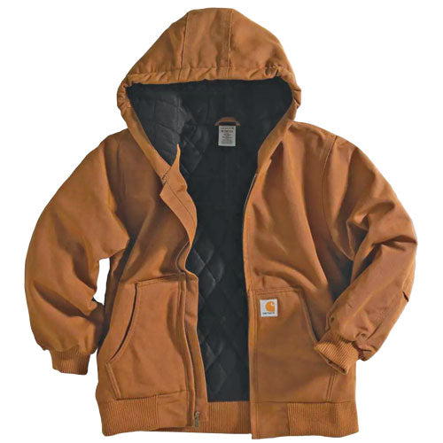 CLCP8417-L-Brown Carhartt Jacket Youth Fleece Lined