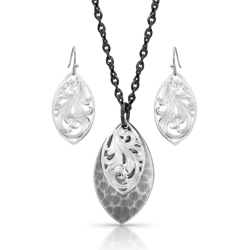 BGJS4219MA Jewelry Set - Hammered & Scroll