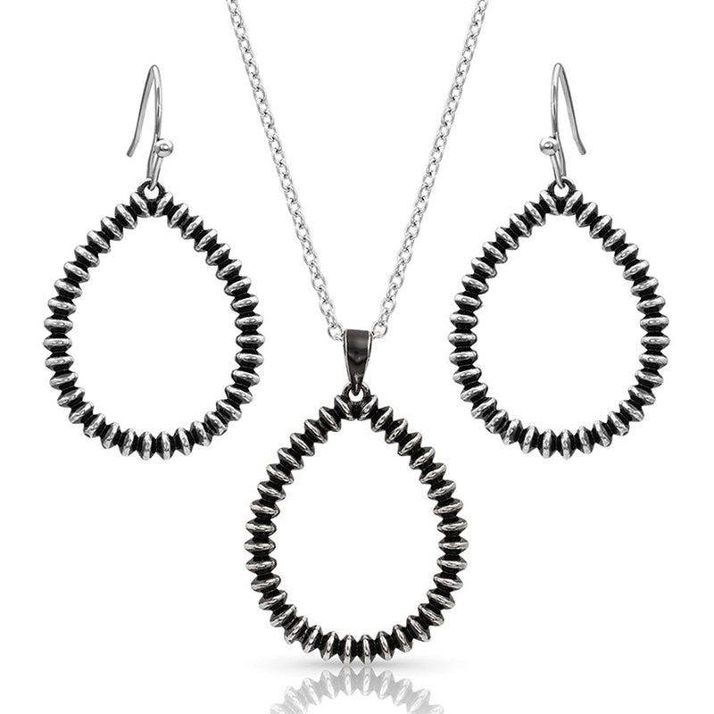 BGJS4320 Jewelry Set - Beaded Silver TDrop