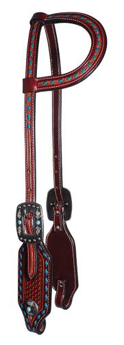 TK3P1011 Headstall Single Turq Buckstitch/Turg Beads/Feathers on Concho