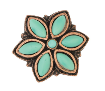 TK77-4170 Concho Turquoise Stone Floral 1 3/4""