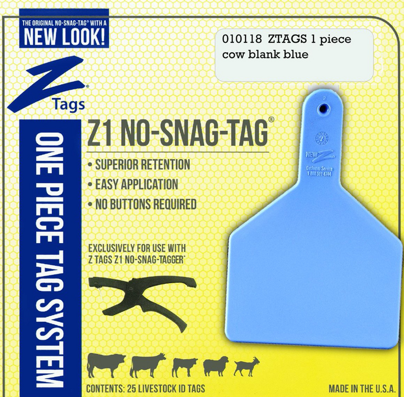 ACNZCOW-Cow-Blue New Z Cow Tags Blank 25's