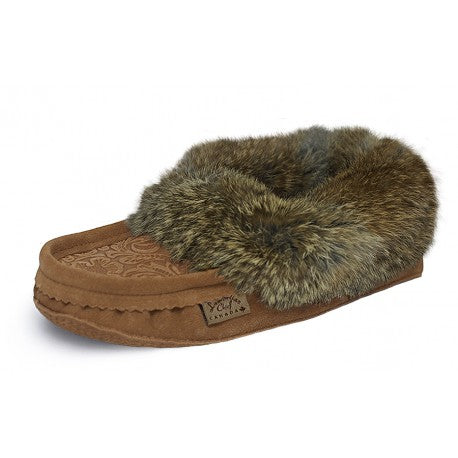 CL6080-0426-8-Tan Slipper Fur Trim Tooled Suede