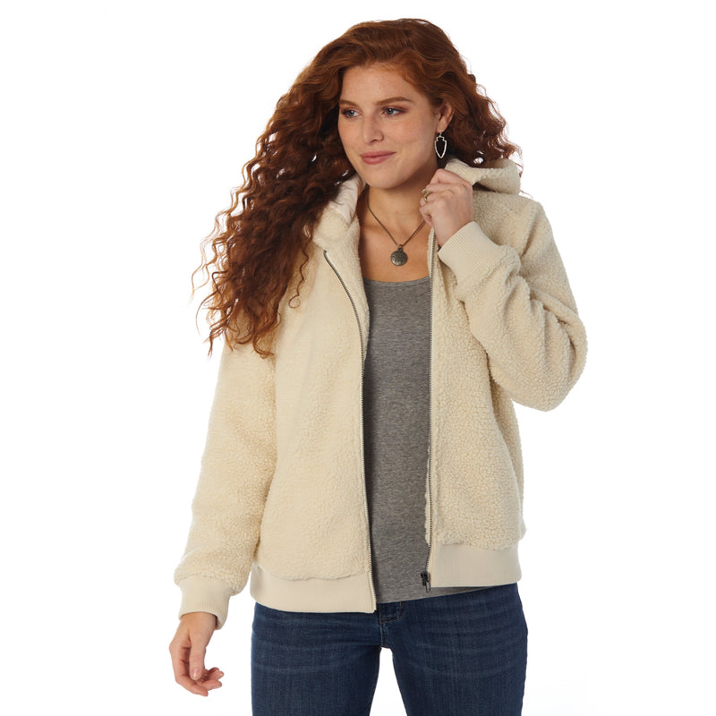 CLLWJ759W-L-Cream/Wh Jacket Ladies Sherpa Full Zip Hoodie