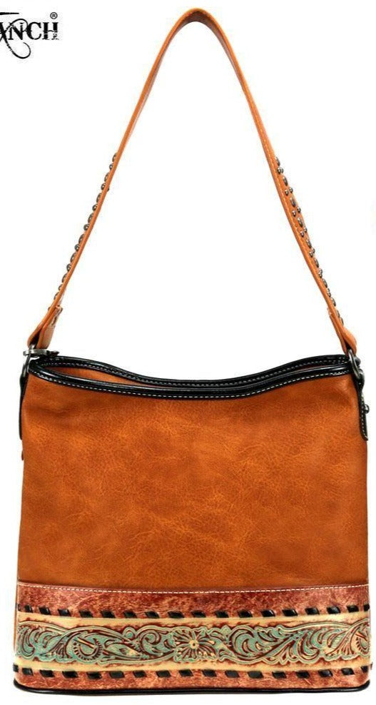 BGTR93G-8241 TAN Purse - Trinity Ranch Tooled Leather Tan