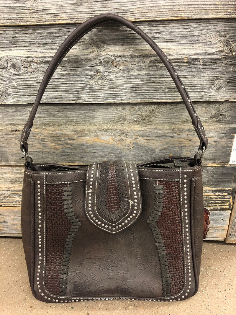 BGTR32G-918 Purse Trinity Ranch Tooled Woven Leather